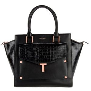 Ted Baker Black Leather bag with detachable clutch